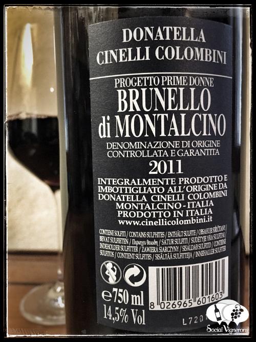 2011 Donatella Cinelli Colombini Progetto Prime Donne Brunello di Montalcino wine back label small