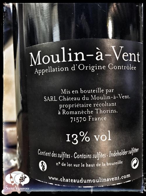 2012 Chateau du Moulin-a-Vent Croix des Verillats Beaujolais gamay back label social vignerons small
