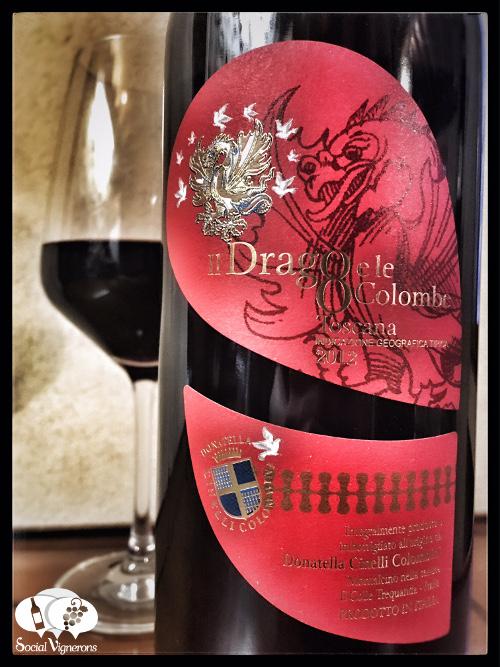2012 Donatella Cinelli Colombini Fattoria del Colle Il Drago e Le Otto Colombe tuscany front label wine bottle glass social vignerons small