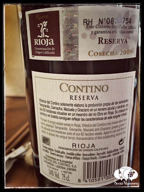2009 CVNE Contino Reserva Rioja Tempranillo red wine back label social vignerons