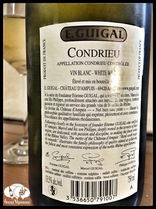 2014 E. Guigal Condrieu Viognier Rhone rance wine back label bottle social vignerons small