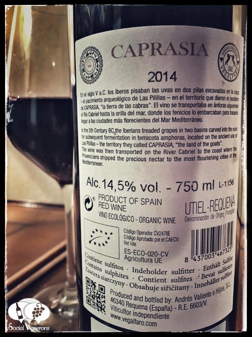 2014 Vegalfaro Caprasia Bobal red wine back label vino tinto pain utiel requena Social Vignerons