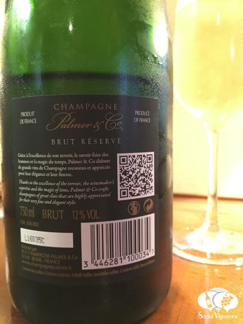 Palmer & Co Brut Reserve Champagne wine review back label cuvee social vignerons