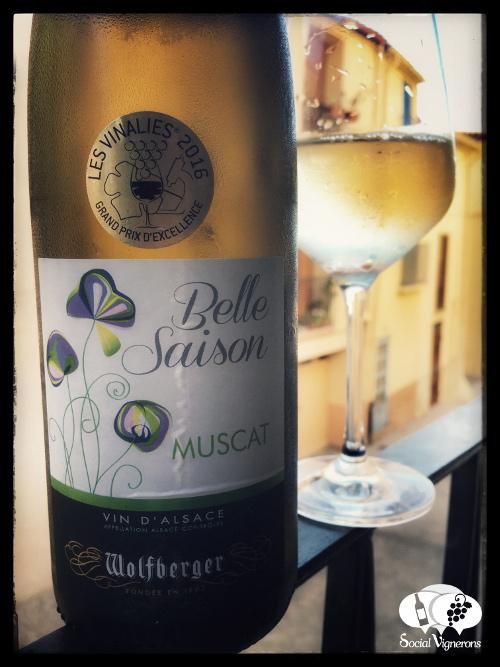 Wofberger Belle Saison Dry Muscat Alsace Wine Vin France Bottle glass front label Social Vignerons