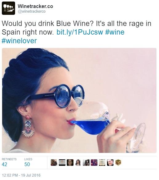 Blue wine tweet by winetrackerco