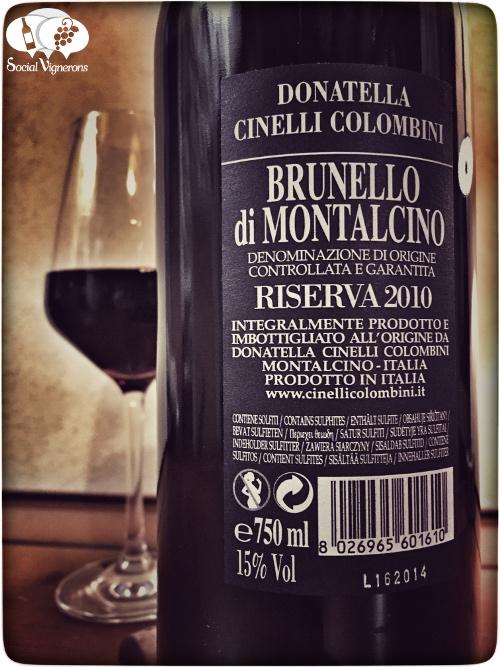 2010 Donatella Cinelli Colombini Brunello Montalcino Riserva Tuscany back label