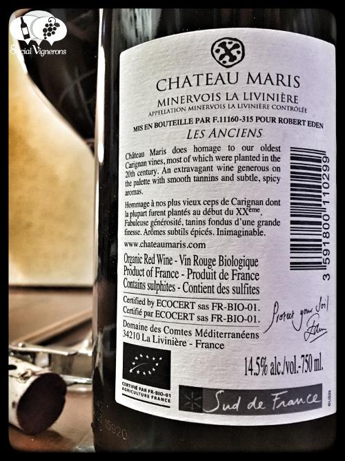2013 Chateau Maris Minervois La Livinière Les Anciens Languedoc wine back label