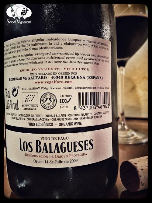 2014 Bodegas Vegalfaro Pago de los Belaguese Syrah WIne back label Spain vino