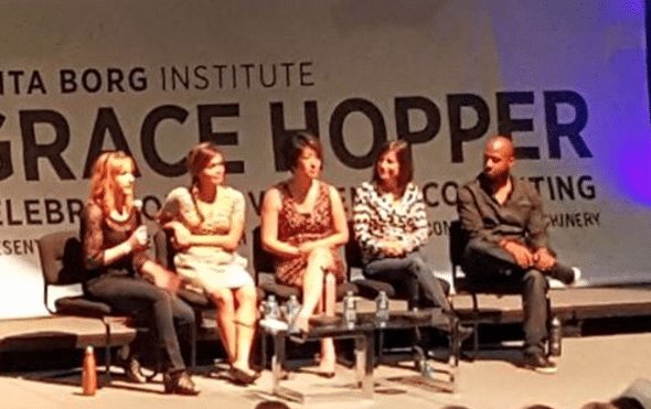 ccelerating & Funding Women Entrepreneurs panel w/ @mbrianaepler of @changecatalysts @KatManalac of @ycombinator @AriHorie of @wslab @boulderidea of @Mergelane & @waynesutton of @buildupvc at Grace Hopper Conference #ghc15 #ghc2015 photo by @TamaraYWash