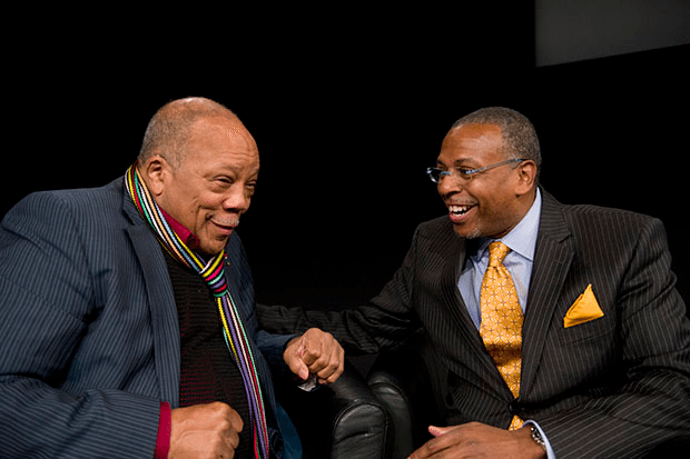 Quincy Jones and Hank Williams share a moment at Platform Summit 2013 at MIT Media Lab in Cambridge, Ma. Photo: Liz Linder