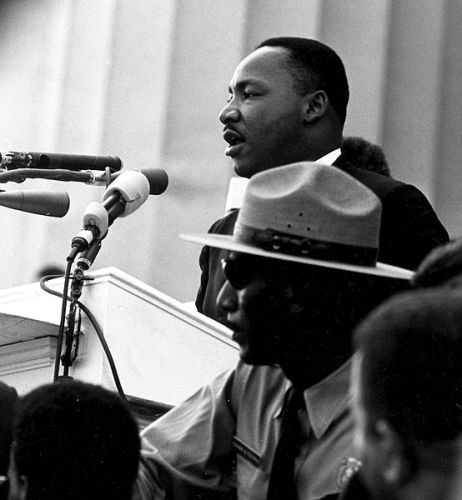 """Dr. Martin Luther King giving his """"I Have a Dream"""" speech during the March on Washington in Washington, D.C., on 28 August 1963."""