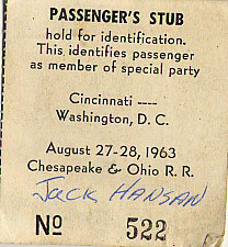 Jack Hansan's Train Ticket Stub