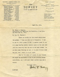 Letter to Harry Hopkins dated April 21, 1914 from Arthur Kellogg, Secretary of The Survey