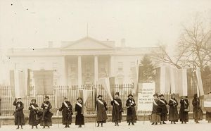 NWP members picket the White House during the Silent Sentinels protests in 1917