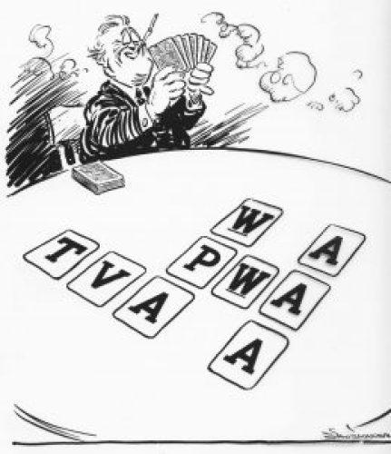 1935 New Deal parody cartoon by Vaughn Shoemaker