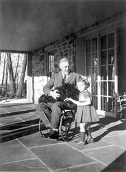 Rare photograph of FDR in a wheelchair, with Ruthie Bie and Fala, taken by his cousin Margaret Suckley (February 1941)