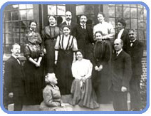 Planning meeting for the National Federation of Settlements at White Plains, NY, March 30, 1908. Front row: Graham Taylor, Mary McDowell, Robert A. Woods. Second row: Cornelia Bradford, Jane Addams (in striped blouse), Lillian Wald (seated), Elizabeth Williams, Dr. James Hamilton. Back row: Helen Greene, Helena Dudley, John Lovejoy Elliott, Meyer Bloomfield, Mary K. Simkhovitch, Ellen W. Coolidge.