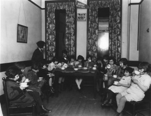 Girl's Club Having Tea