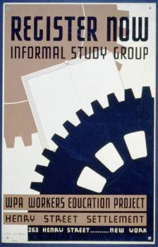Poster announcing formation of educational study groups for workers at the Henry Street Settlement