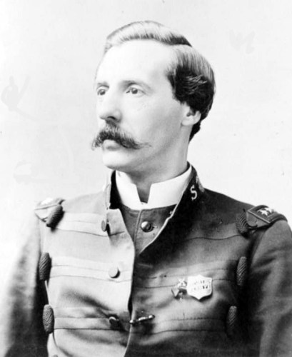 Ballington Booth, head-and-shoulders portrait, facing left, wearing Salvation Army uniform