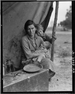 Migrant agricultural worker's family. Seven children without food. Mother aged thirty-two. Father is a native Californian.