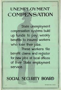 SSA Poster of 1940 Promoting Unemployment Compensation Program