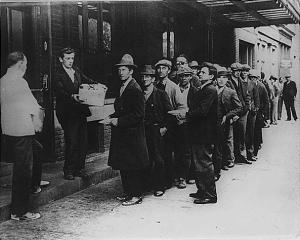 In the absence of substantial government relief programs, free food was distributed with private funds in some urban centers to large numbers of the unemployed (Circa February 1932)
