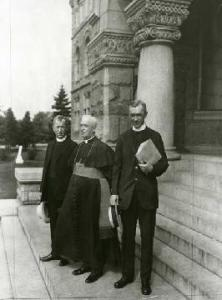 Kerby (left), with Rector Shahan (center), and John O' Grady (right). All three were instrumental in organizing the first NCCC at CUA in 1917.