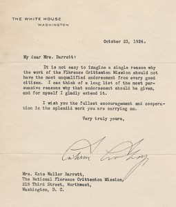 Letter from President Coolidge to Kate Barrett