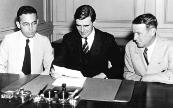 This is the first meeting of the Social Security Board, September 14, 1935. Left to right: Arthur J. Altmeyer, John G. Winant (Chairman), and Vincent M. Miles.