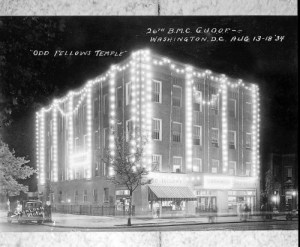 This building, located in NW Washington, D.C., was built by the Odd Fellows in 1932 and was the scene of a convention two years later. The architect of the building and photographer of the convention scene were both Order members: Albert I. Cassell and Addison Scurlock respectively