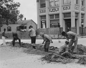 WPA workers laying a water main in Madisonville Louisiana in 1937