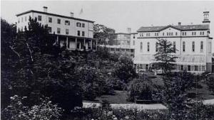 The original mother house of the SCNYs was at McGowan's Pass. While the sisters re-located to a nearby castle-like structure donated by a famous entertainer in 1859, they returned to the scene and opened a military hospital during the Civil War era, in which this photo was taken.
