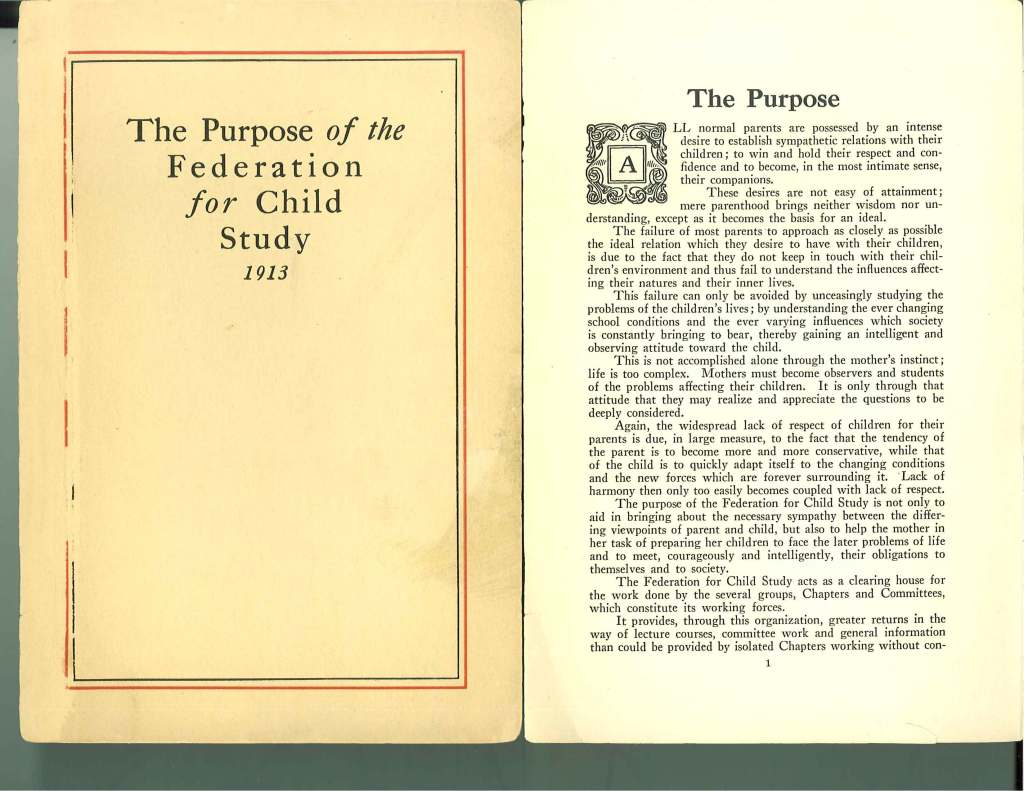 The Purpose of the Federation for Child Study, 1913