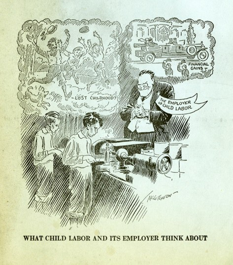 """What Child Labor and Its Employer Think About"" by John T. McCutcheon, a Pulitzer Prize-winning American newspaper cartoonist for the Chicago Tribune."""