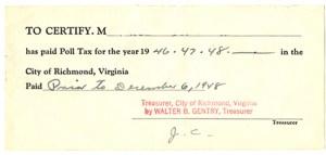 Virginia Poll Tax receipt, 1948