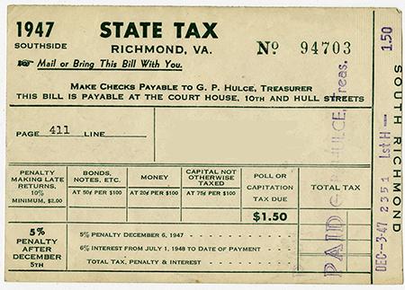 Virginia Poll Tax receipt 1947