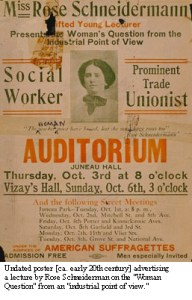 Pre-1920 poster featuring American social activist Rose Schneidermann.