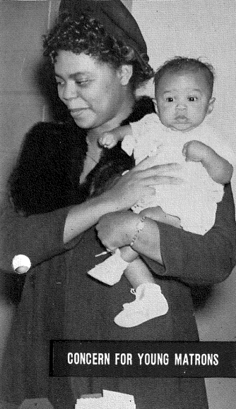 """Concern for Young Matrons"" African American woman holds a small child (less than a year old) in her arms."