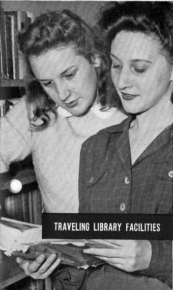 """Traveling Library Facilities"" Two women look at a book in a library setting"