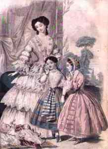 Wealthy woman with two little girls and an infant