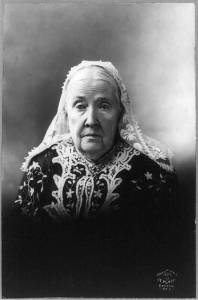 Julia Ward Howe wearing a lace mantilla.