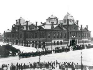 Pullman Strikers outside Arcade building