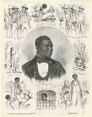 Engraving of scenes from the life of Anthony Burns, fugitive slave