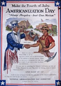 "Poster shows Uncle Sam greeting an immigrant. Text ""Make the Fourth of July Americanization Day. Many Peoples but One Nation"""