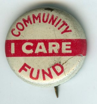 Richmond Community Fund Membership button with slogan 'I Care' - from The Valentine