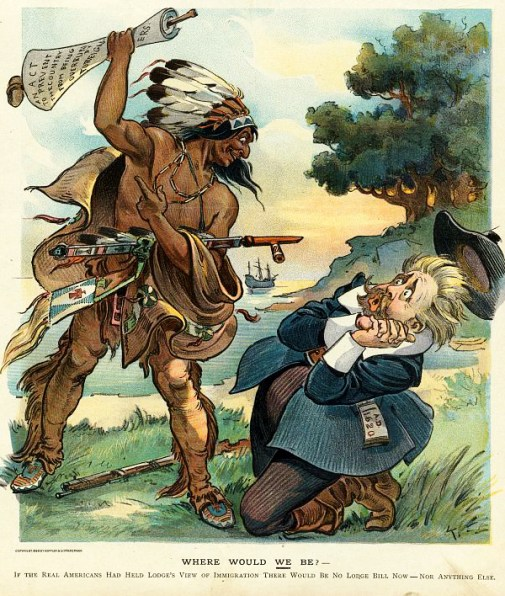 "Political cartoon showing Henry Cabot Lodge cowering before Native American who is about to hit him with ""An Act to Prevent the Country from being Overrun by Foreigners."""