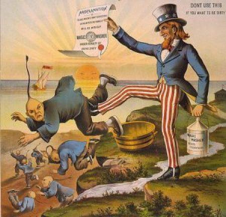 """""""Uncle Sam kicks out the Chinaman,"""" 1886"""