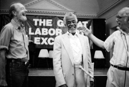 Pete Seeger (left) and Joe Glazer (right) give John Handcox the Joe Hill Award, 1987. Photo by Larry Rubin