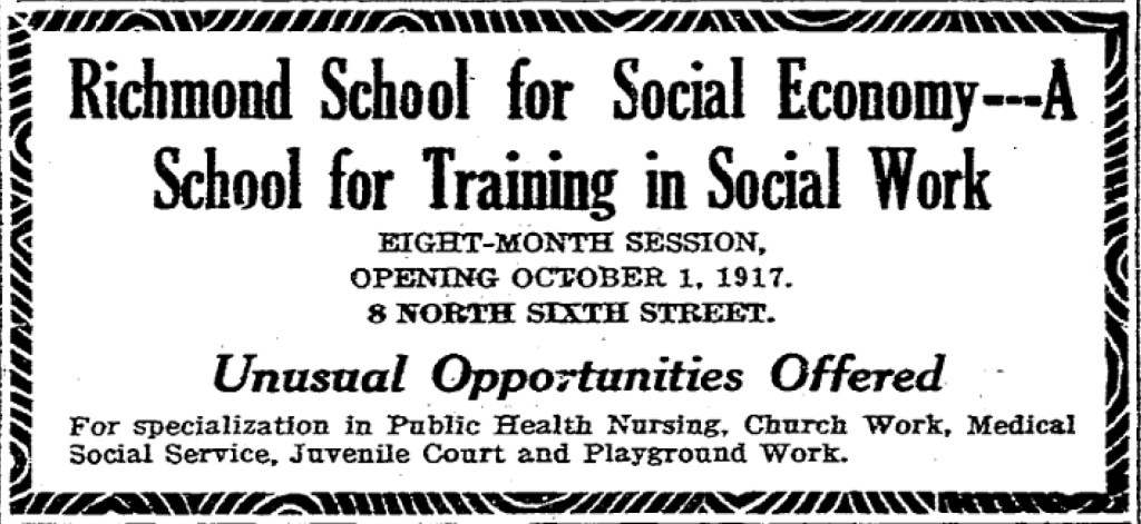 Ad for the Richmond School of Social Economy July 22 1917